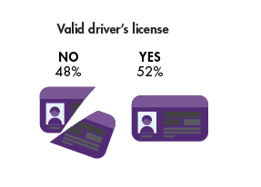 Graph showing DART riders with a valid driver's license. 48 percent do not have a valid driver's license, while 52 percent say yes they do have a valid driver's license.