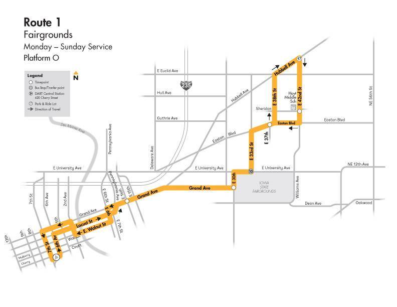 DART Local Route 1 - Fairgrounds Map