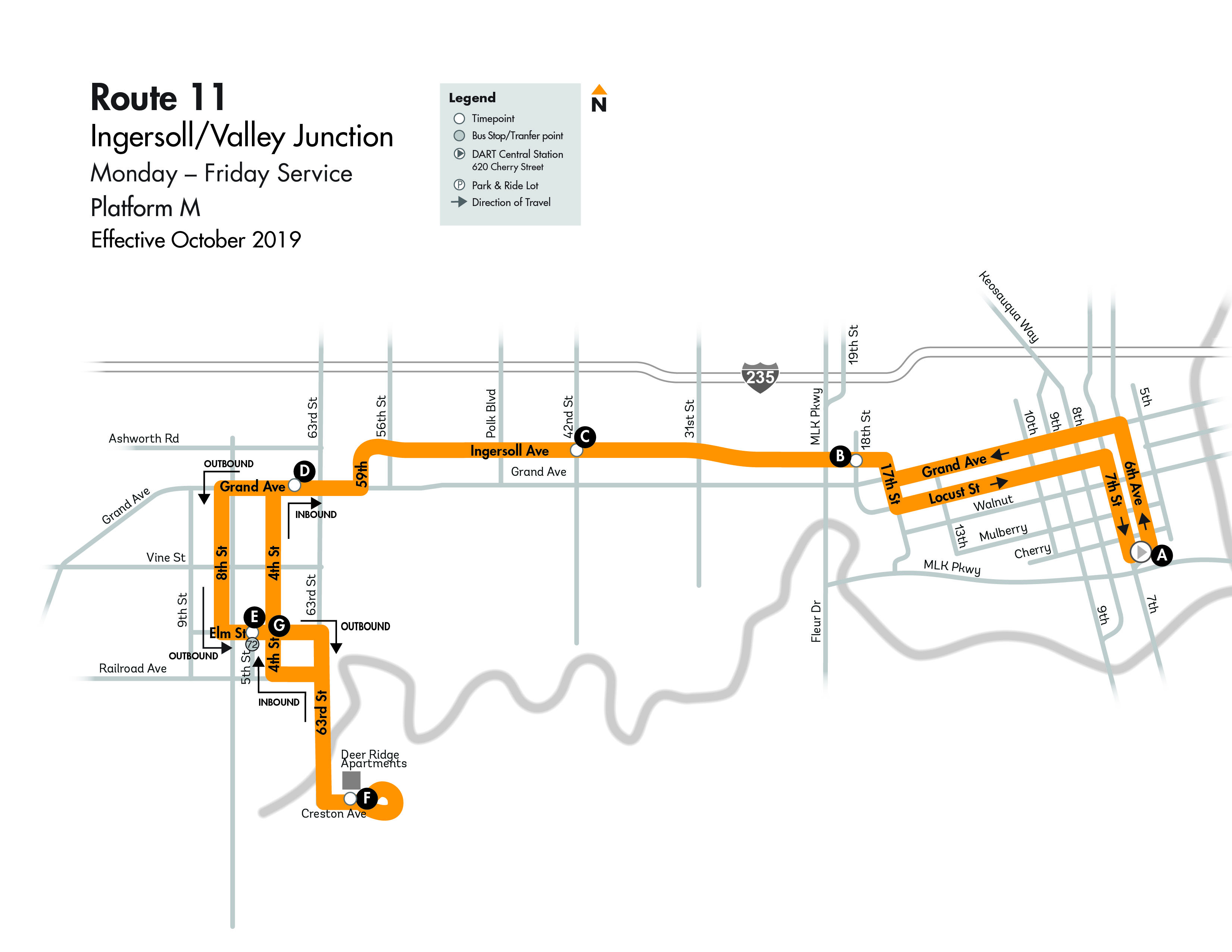 DART Local Route 11 - Ingersoll/Valley Junction Map