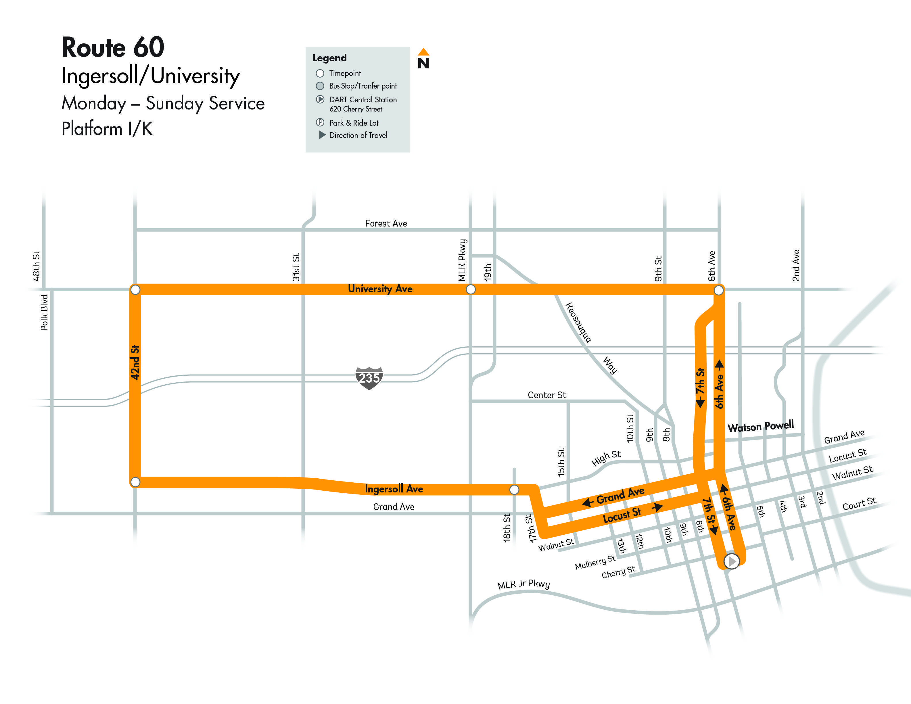 DART Local Route 60 - Ingersoll/University Map