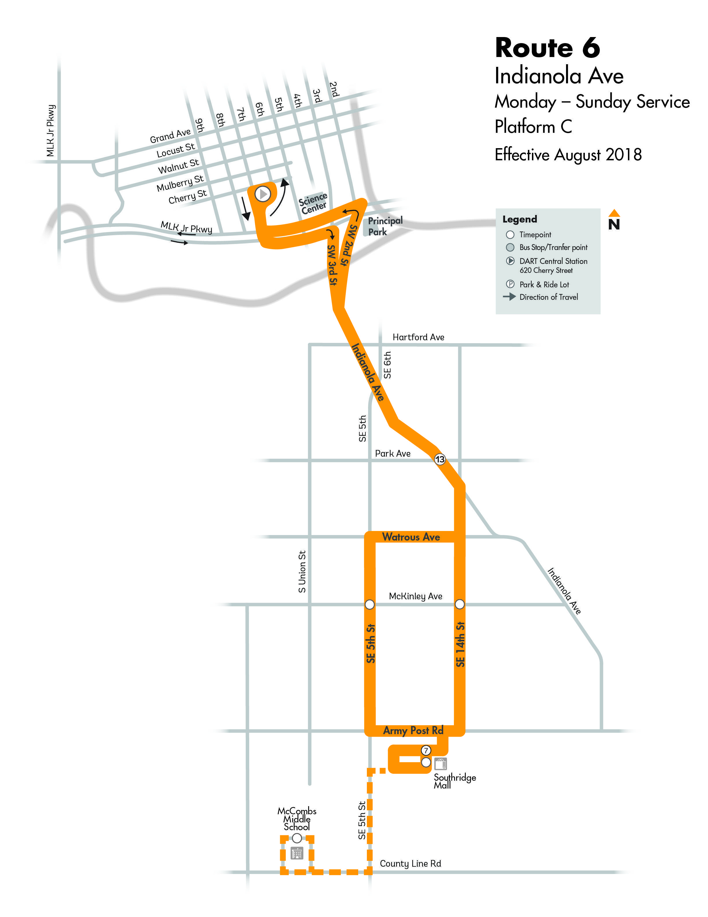 DART Local Route 6 - Indianola Map