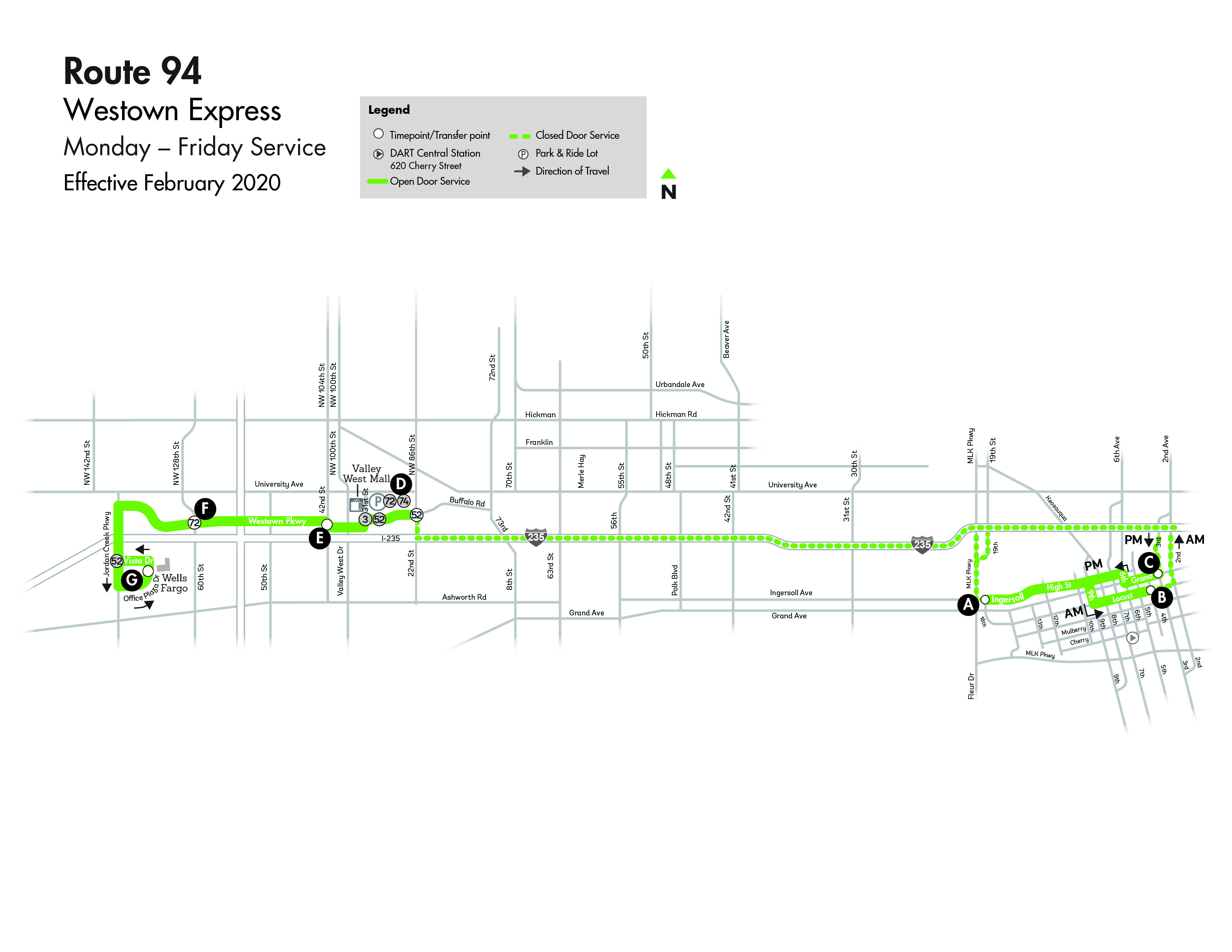DART Express Route 94 - Westown Map