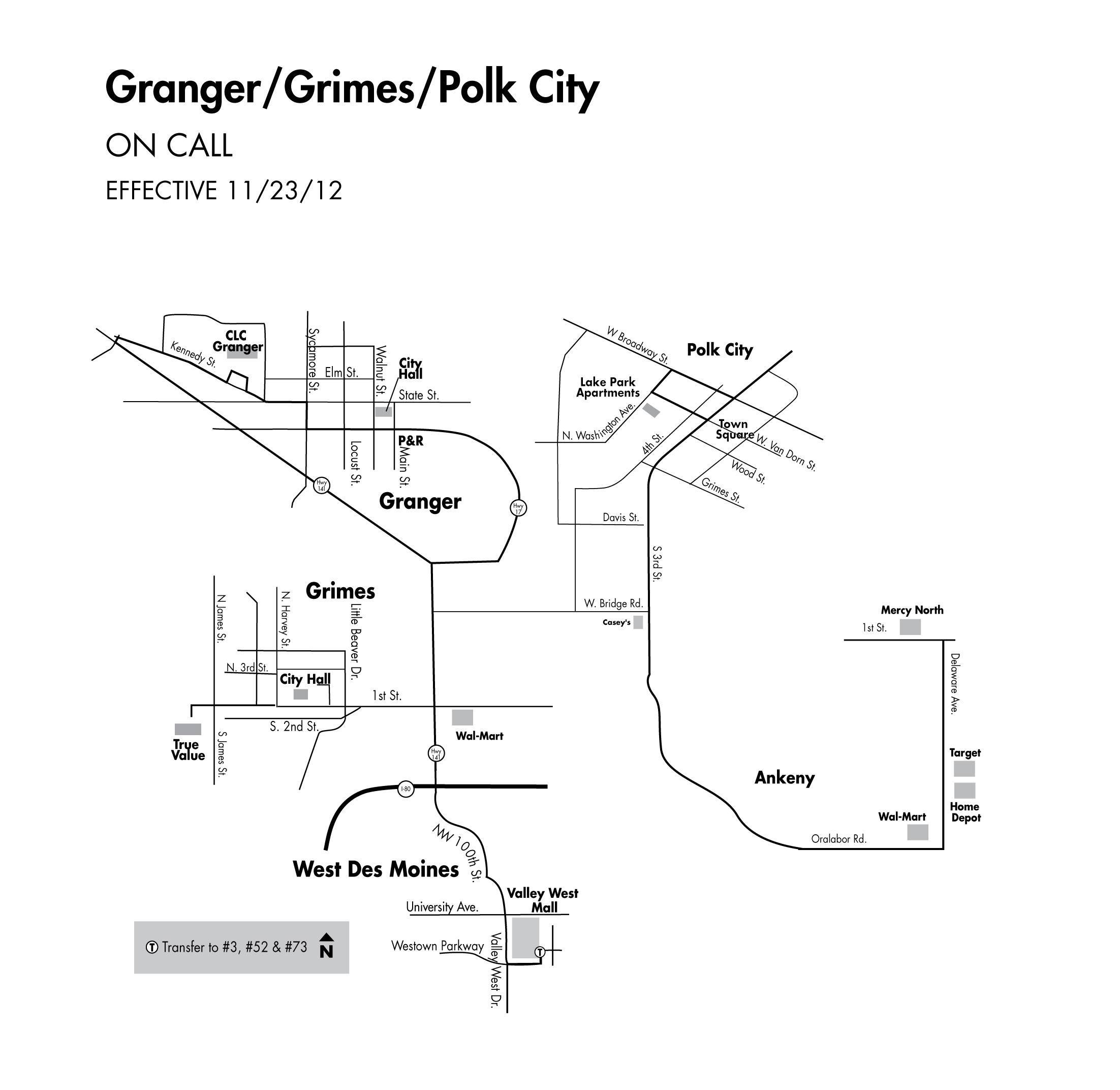 DART On Call Service - Granger/Grimes/Polk City Map