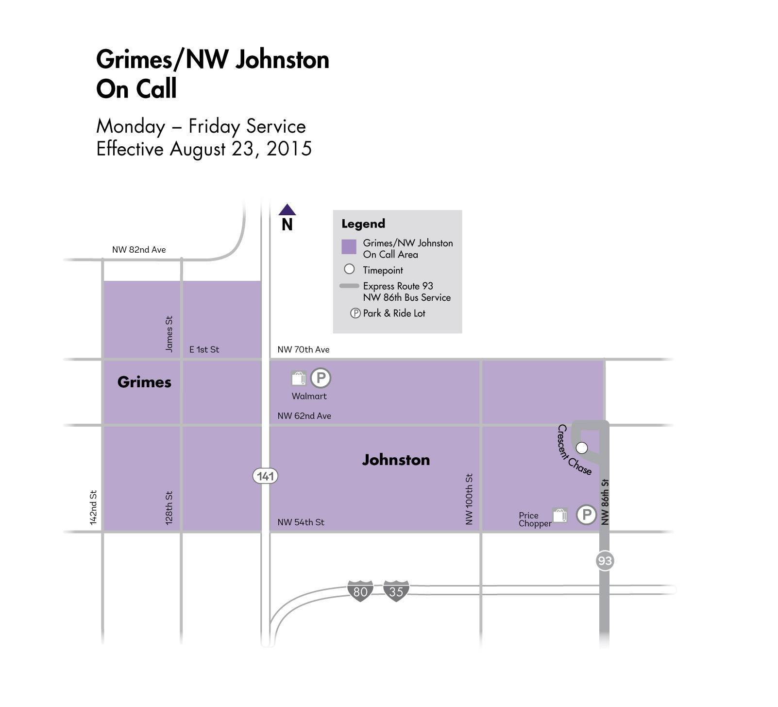 DART On Call Service - Grimes/NW Johnston Map