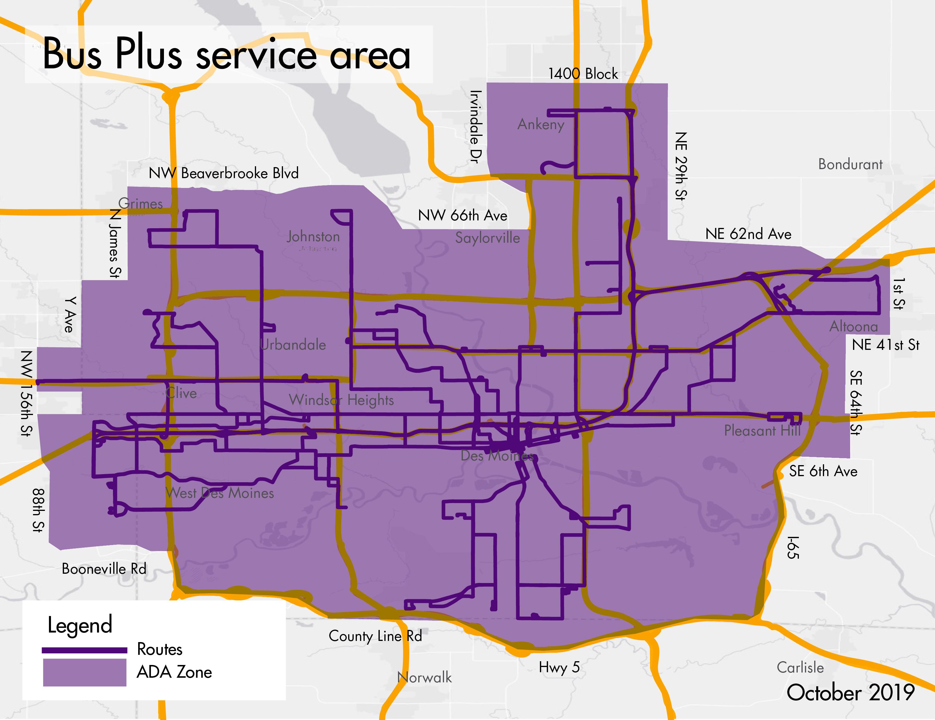 Map of the Bus Plus service area from October 2019.