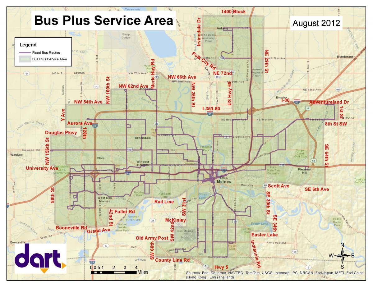 Paratransit Service Area Map