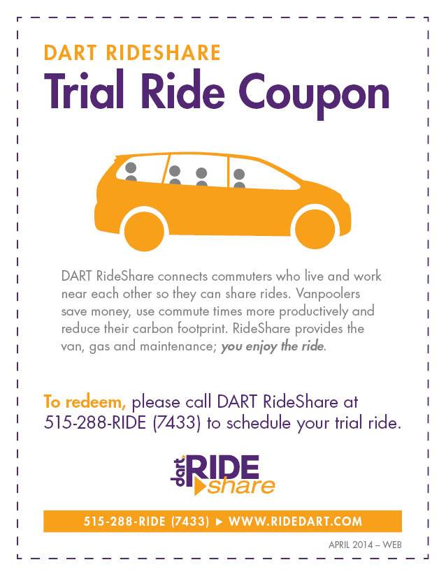 DART RideShare Trial Ride Coupon