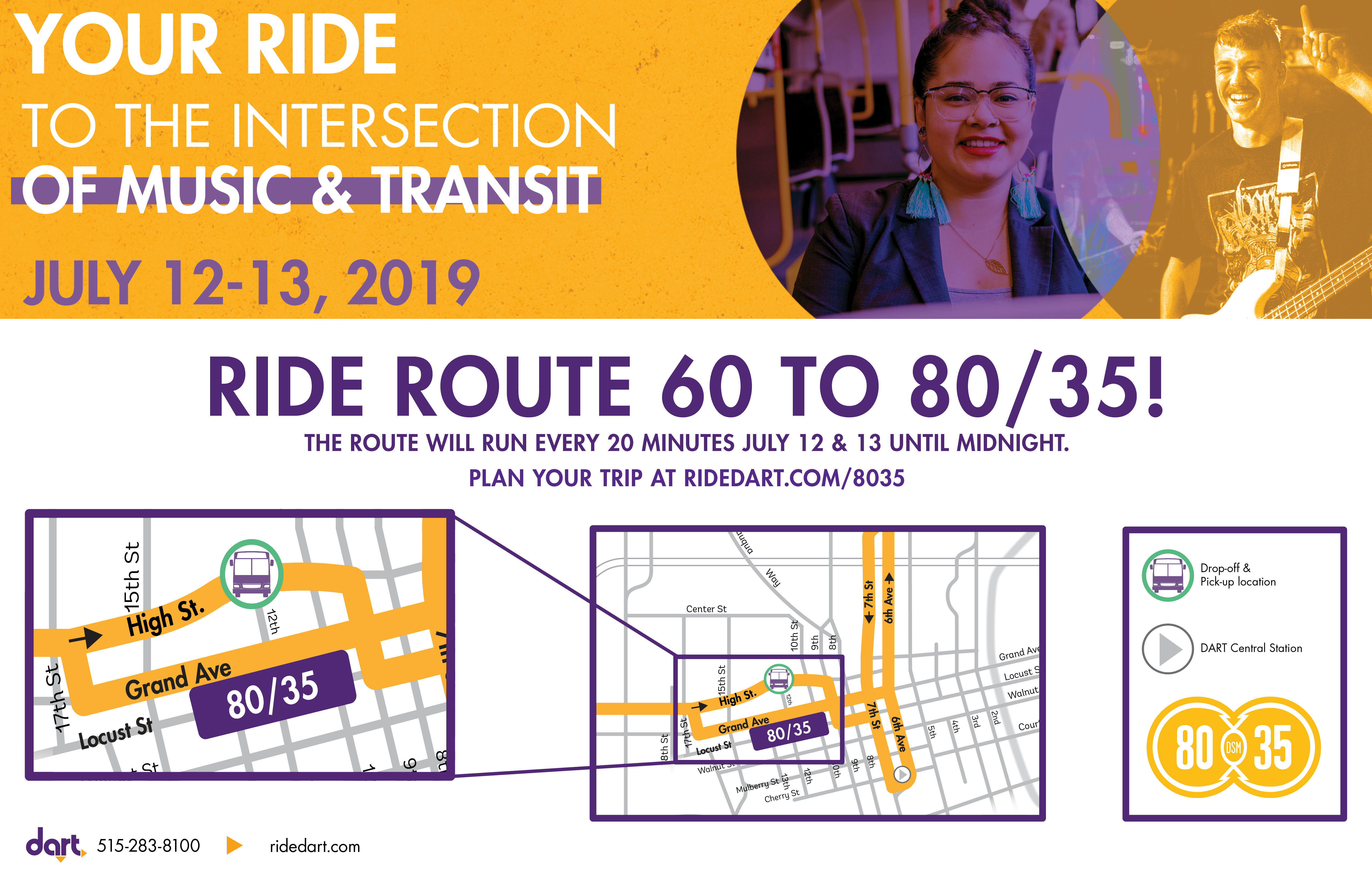80/35 music festival DART bus route map