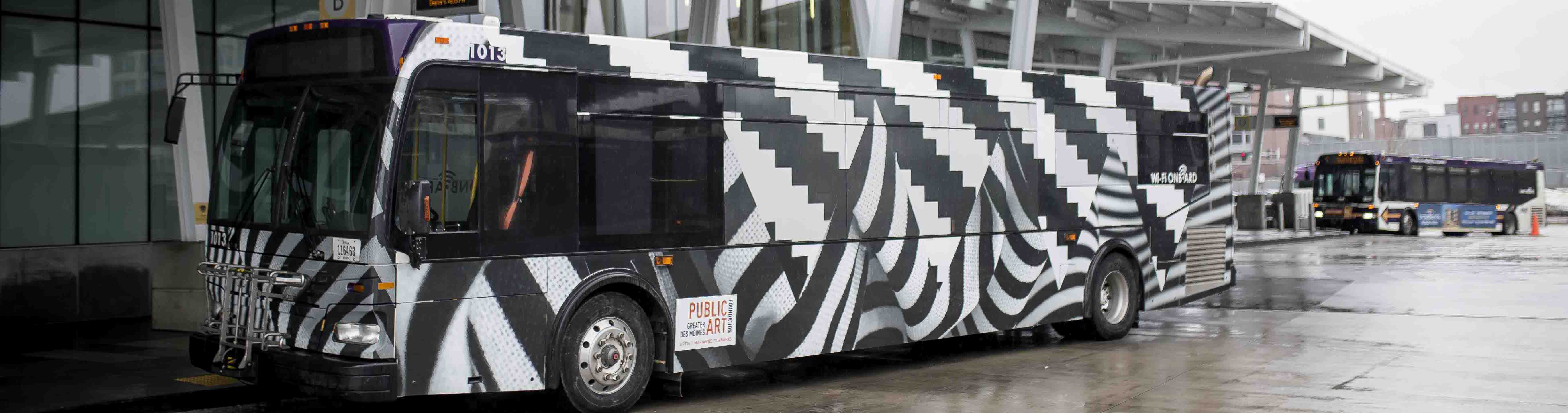 Ninth public art bus unveiled in DART Central Station flash mob