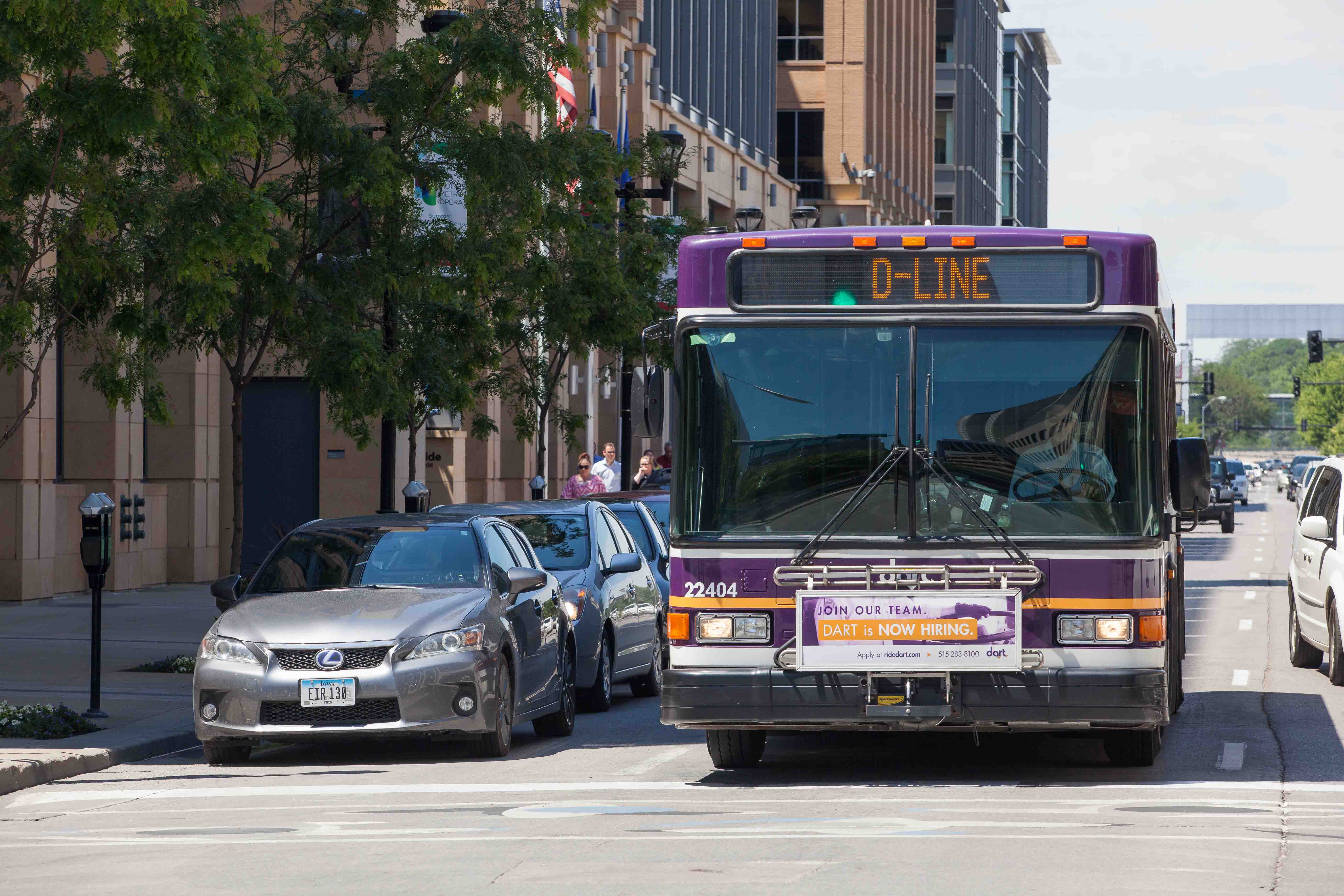 D-Line bus driving in Downtown Des Moines.