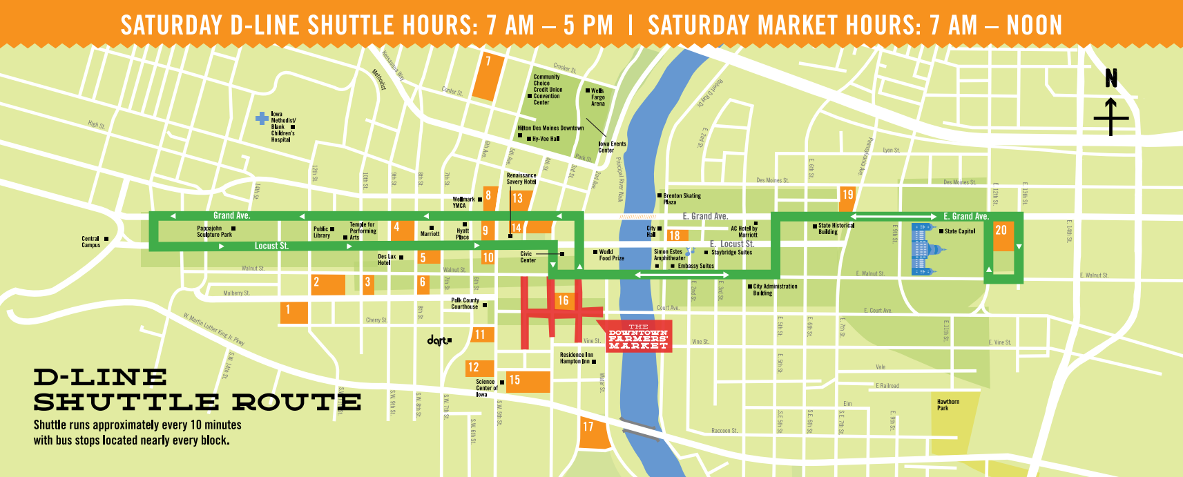 How To Get To The Downtown Des Moines Farmers Market Dart Des