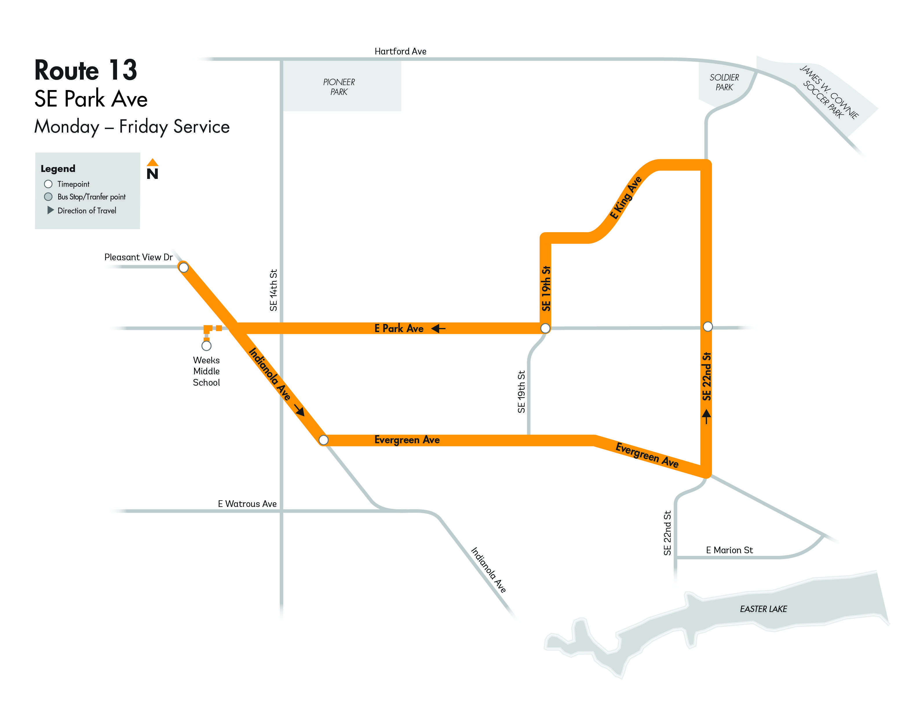 DARTLocal Route 13 - SE Park Map