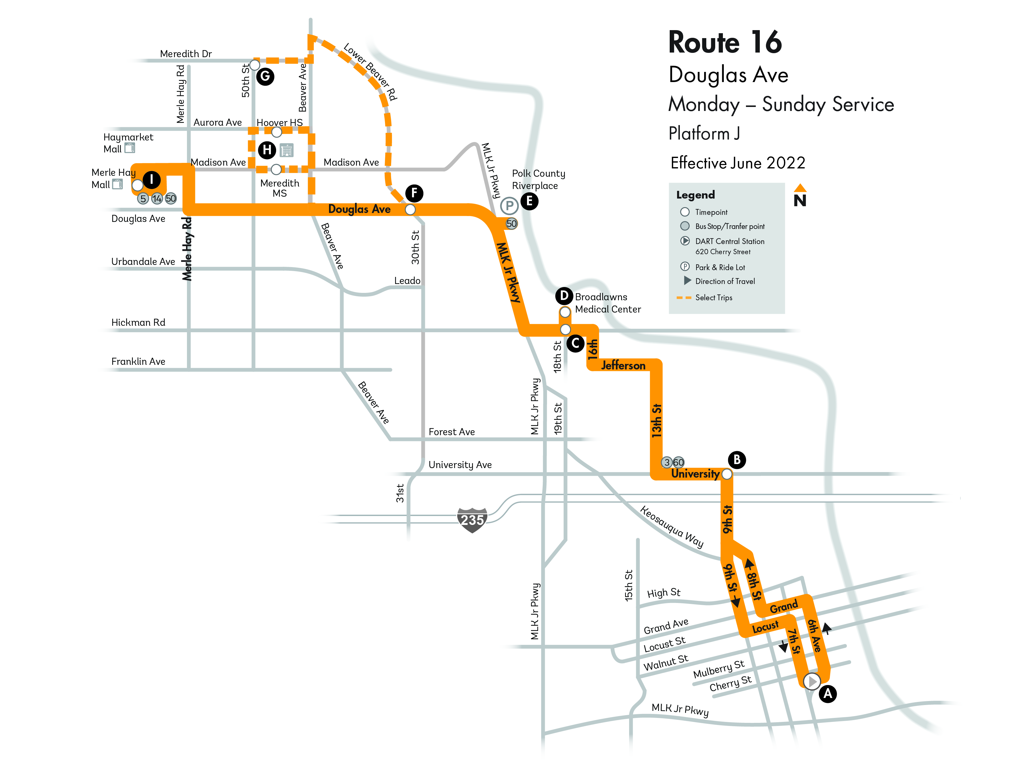 DART Local Route 16 - Douglas Map