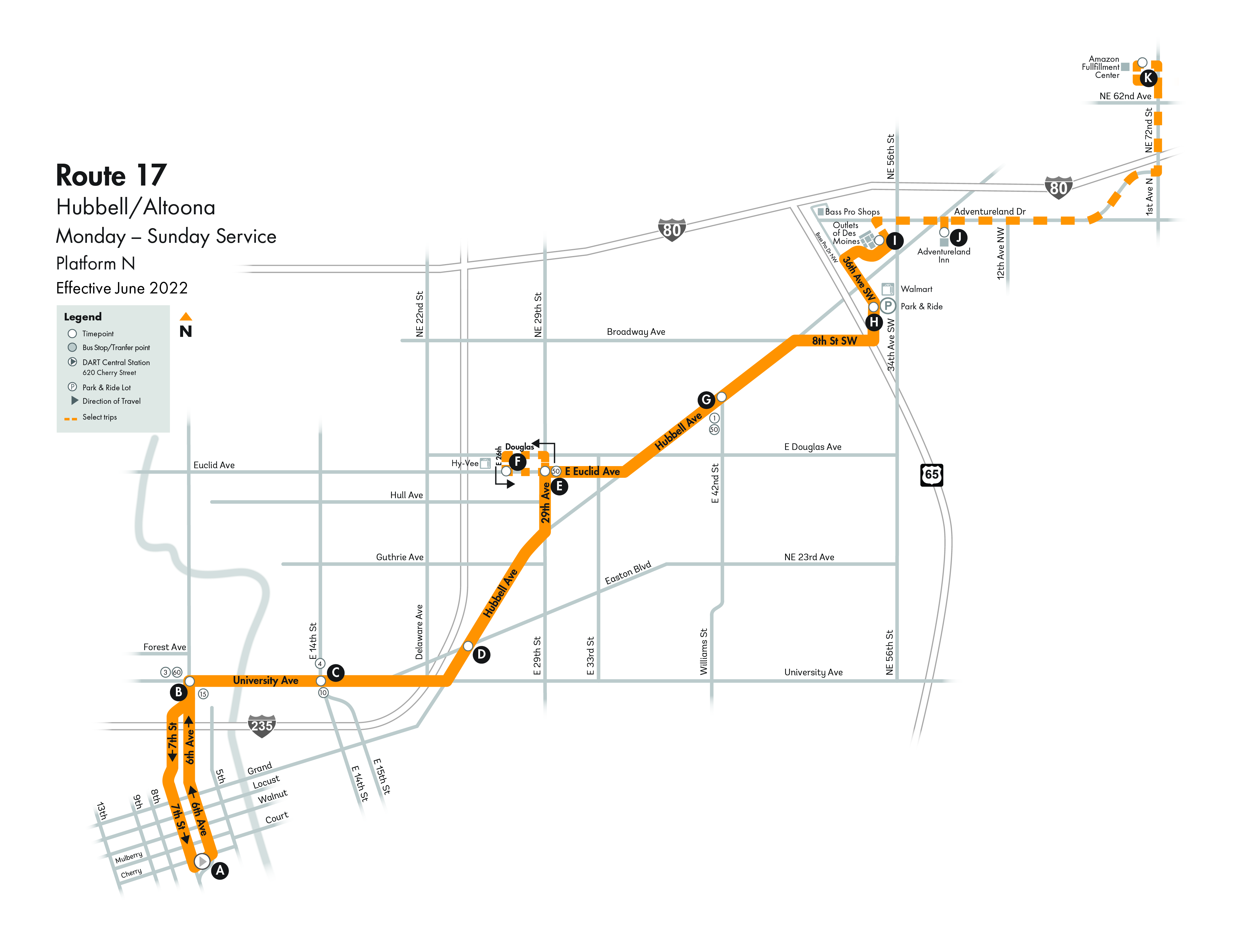 DART Local Route 17 - Hubbell/Altoona Map