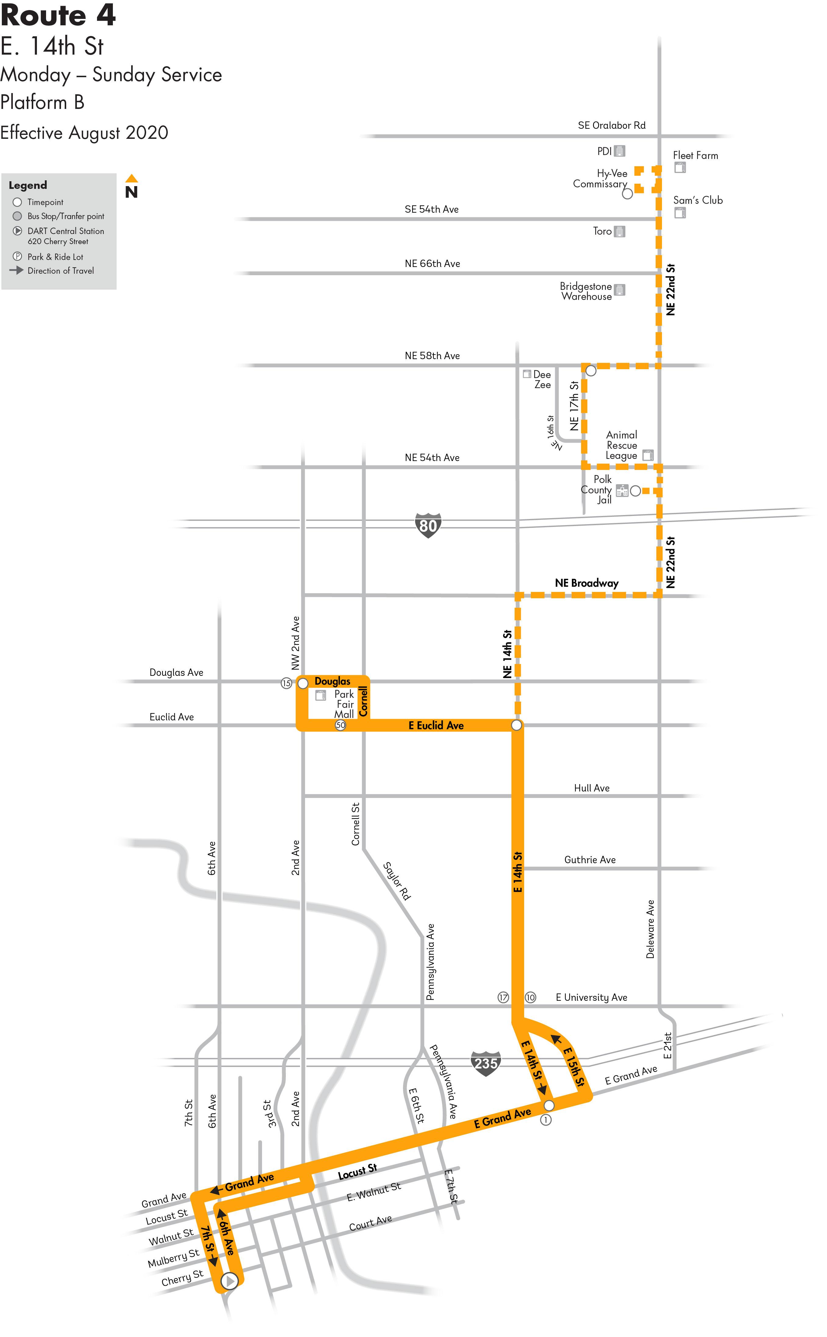 DART Local Route 4 - E 14th St Map