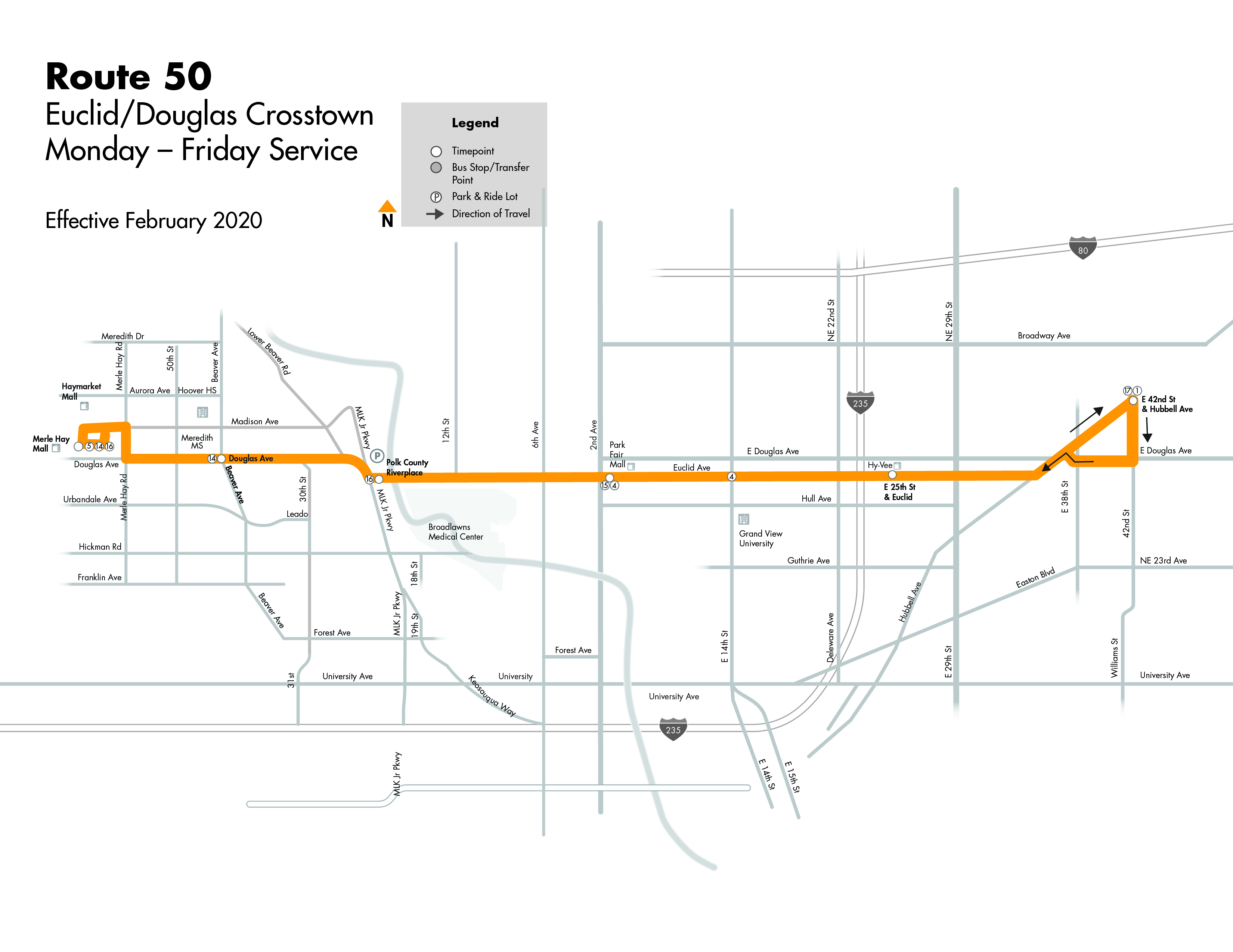 DART Local Route 50 - Euclid/Douglas Crosstown Map