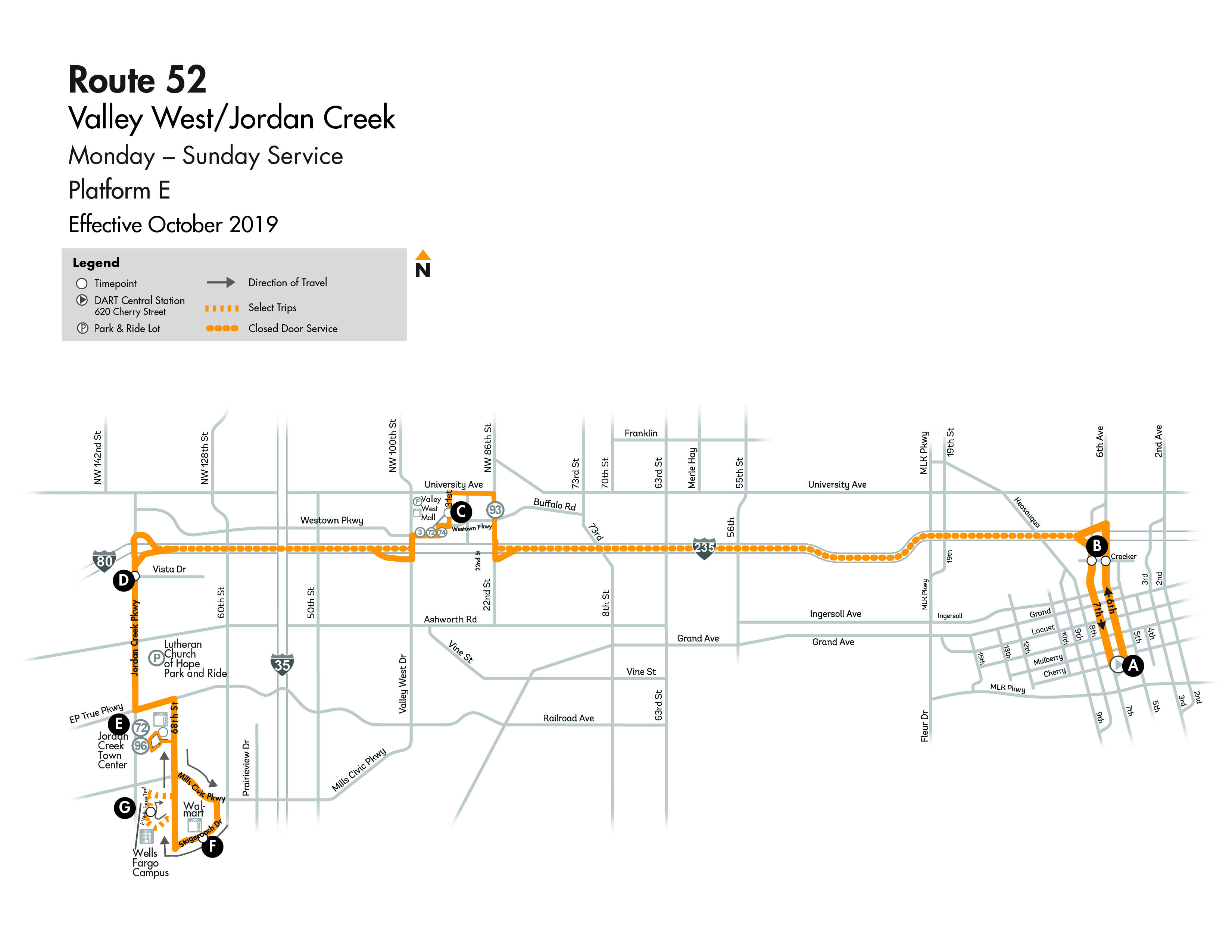 DART Local Route 52 - Valley West/Jordan Creek Crosstown Map