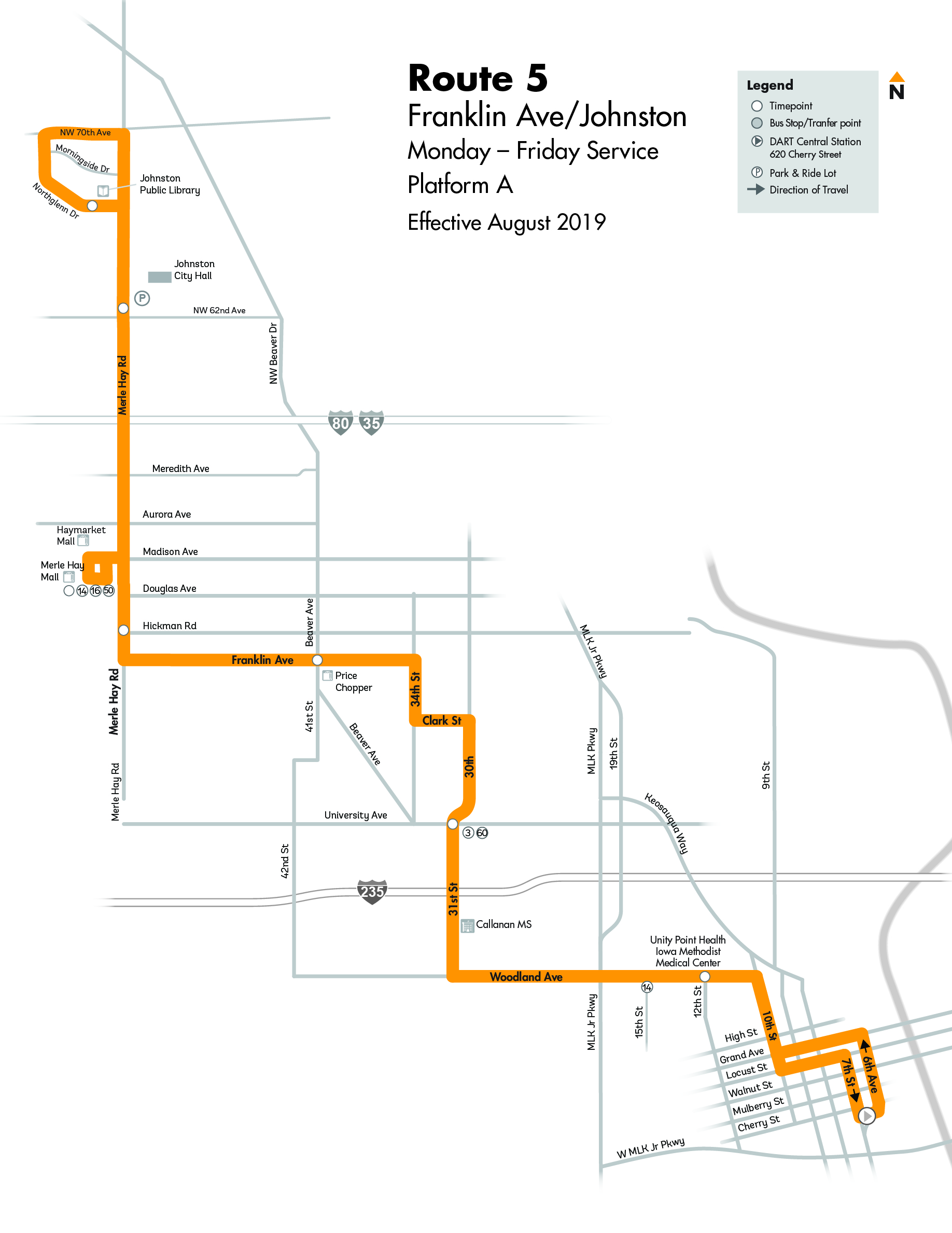 DART Local Route 5 - Franklin Map