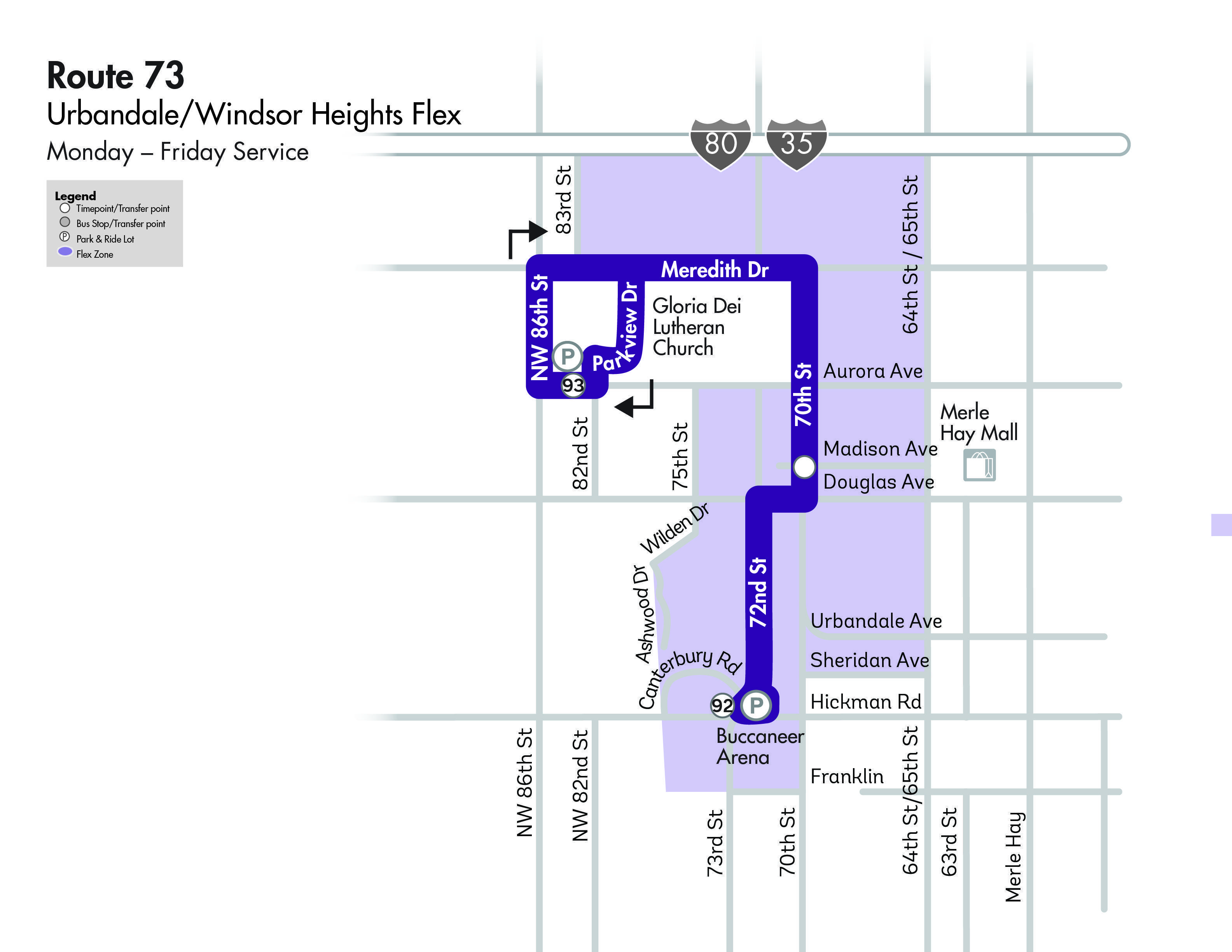 DART Flex Route 73 - Urbandale/Windsor Heights Map