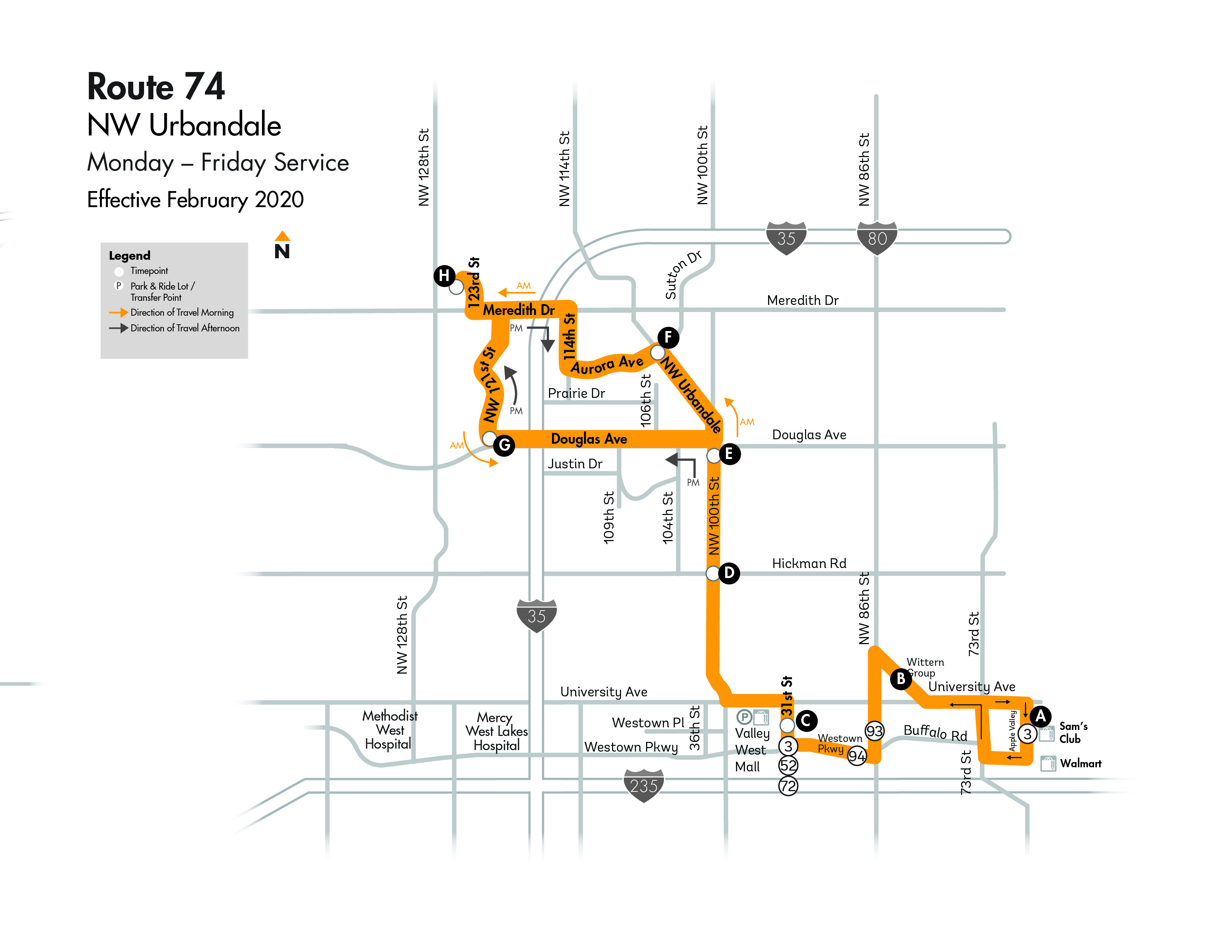 DART Local Route 74 - NW Urbandale Map