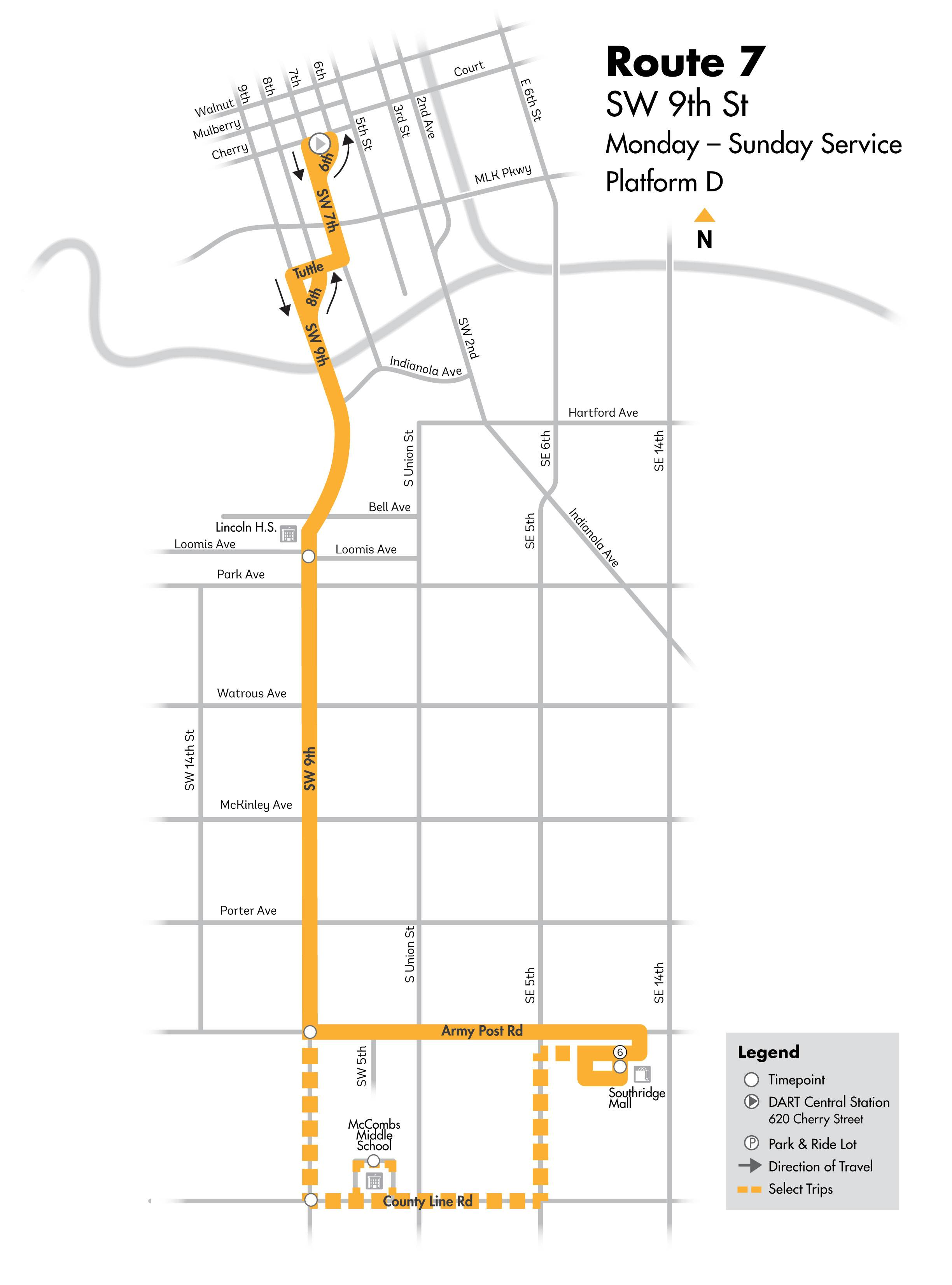 DART Local Route 7 - SW 9th Map