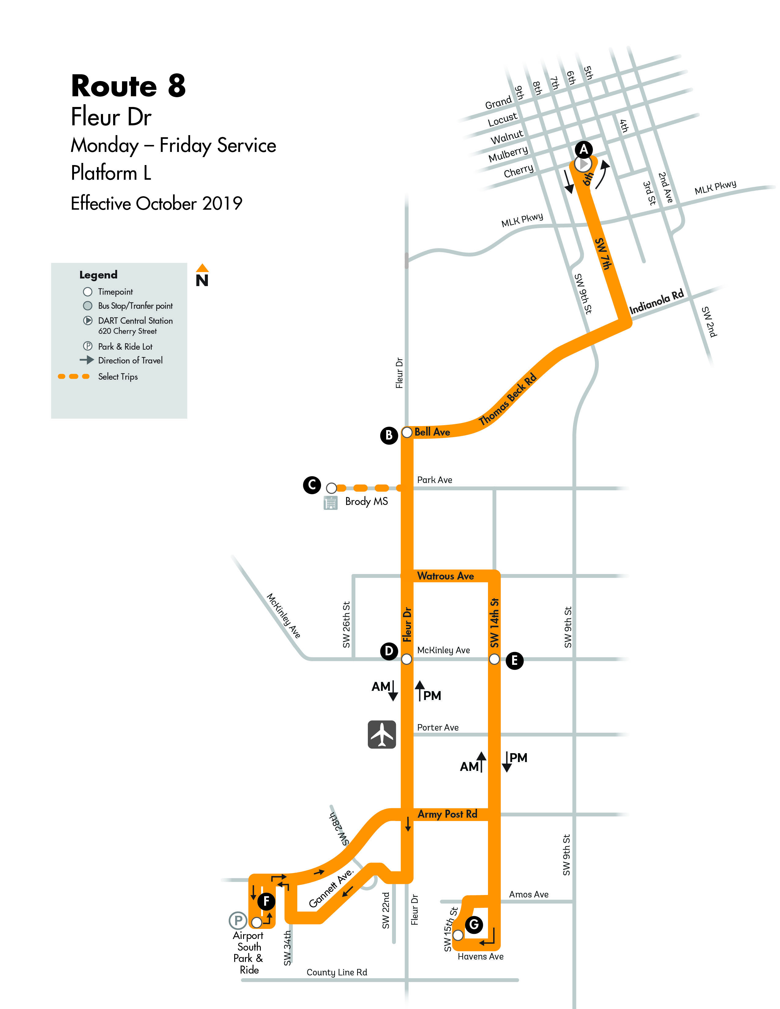 DART Local Route 8 - Fleur Map