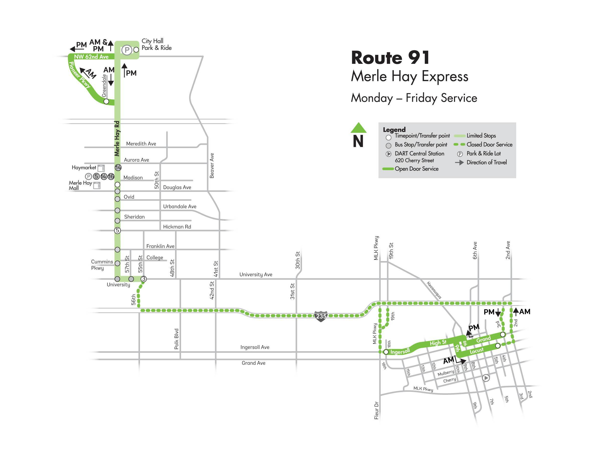 DART Express Route 91 - Merle Hay Express Map