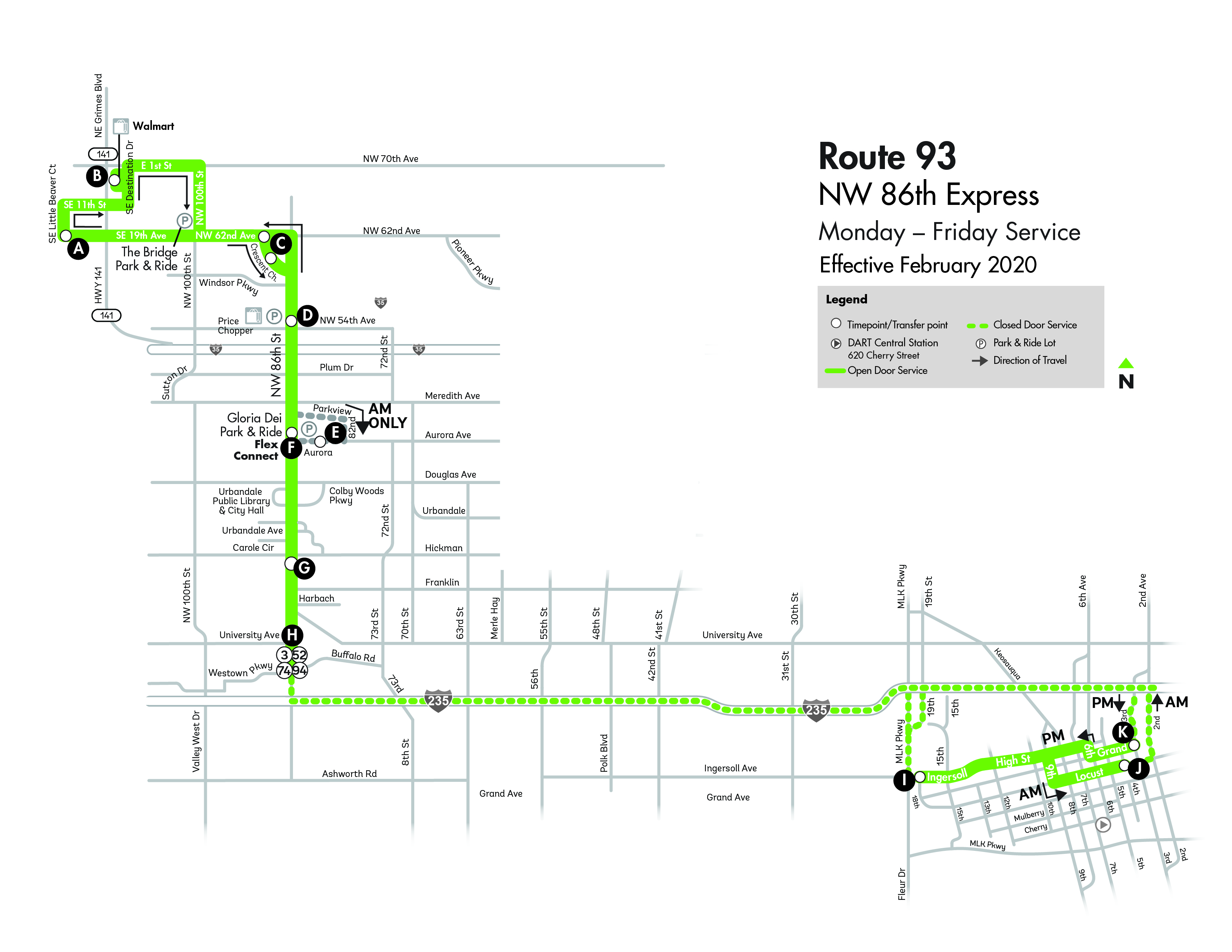 DART Express Route 93 - NW 86th Express Map
