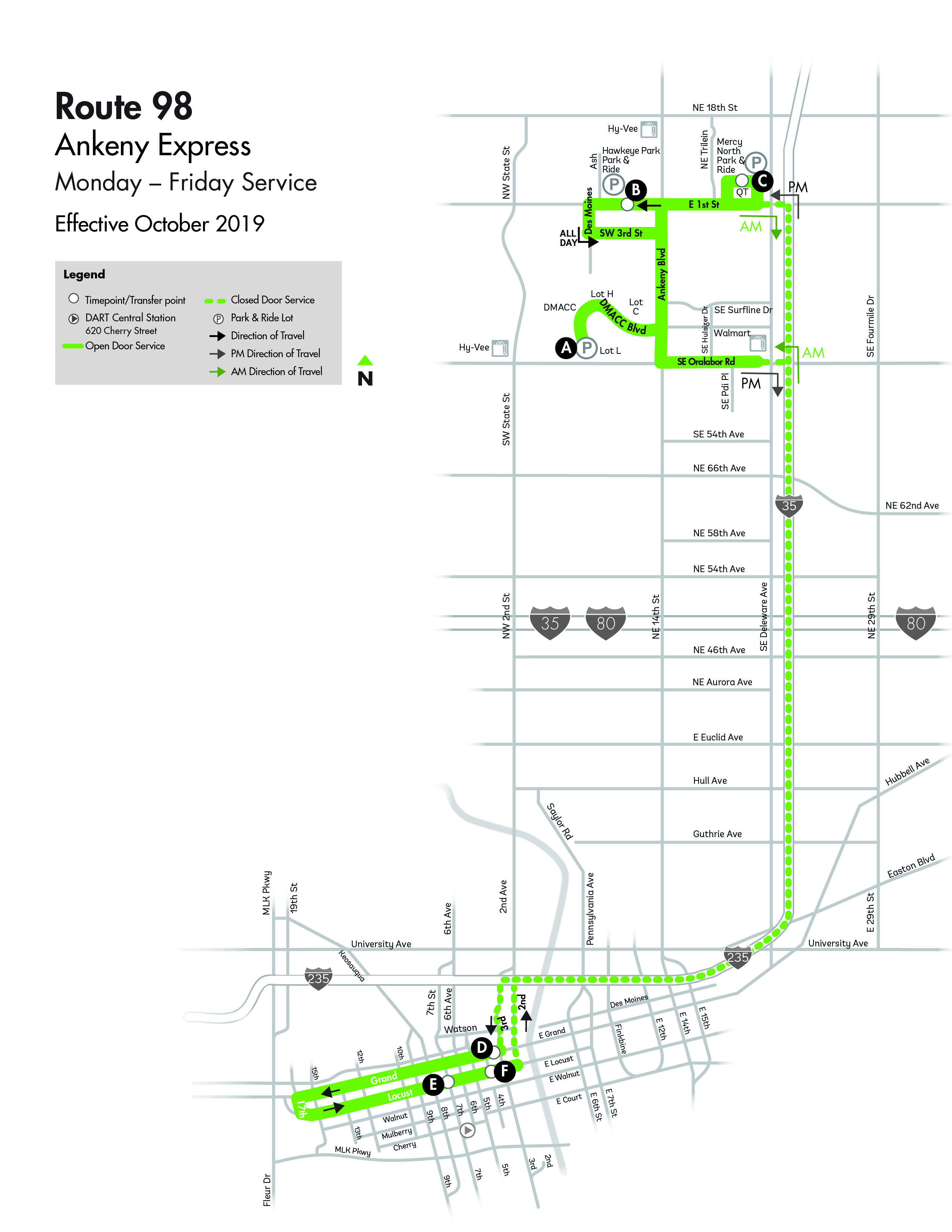 DART Express Route 98 - Ankeny Map