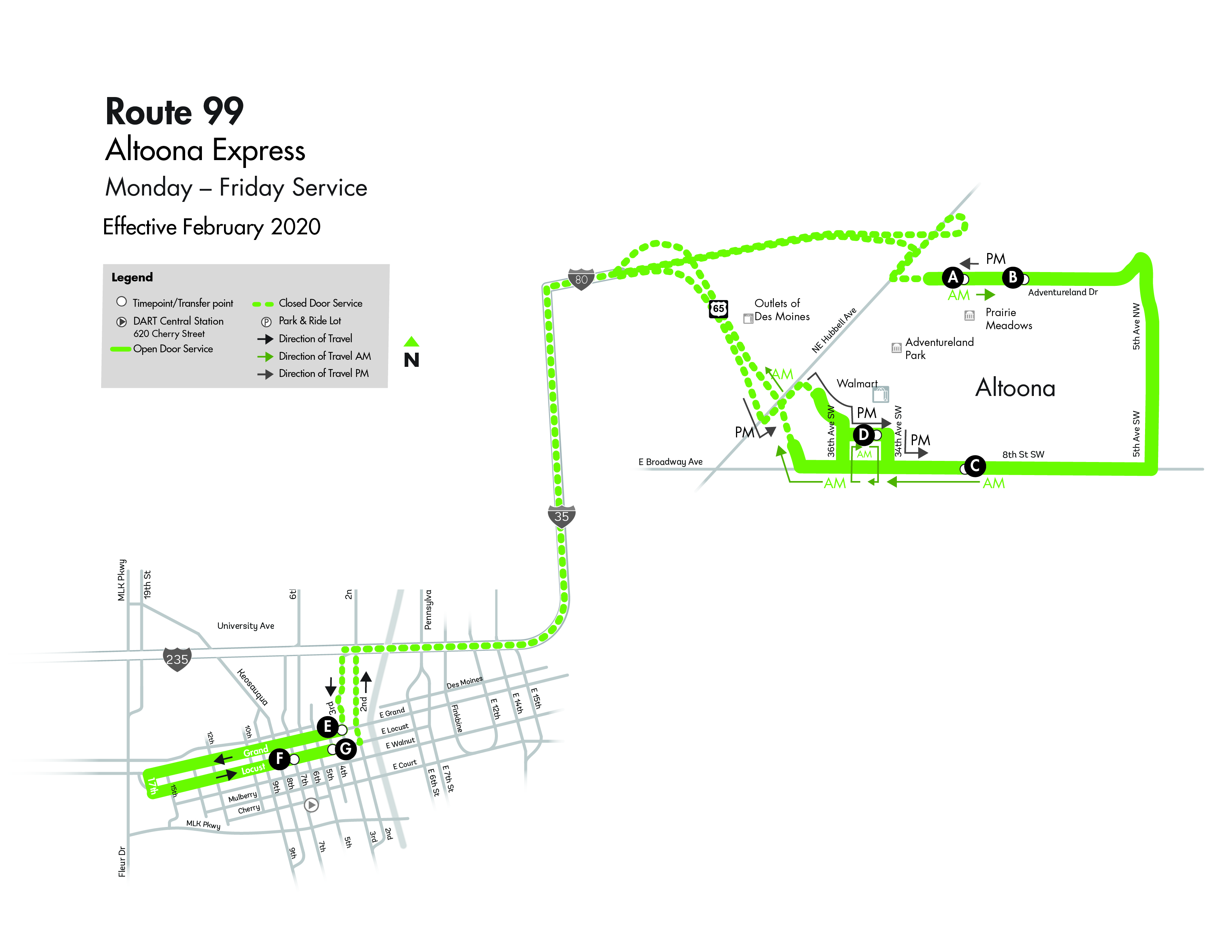 DART Express Route 99 - Altoona Map