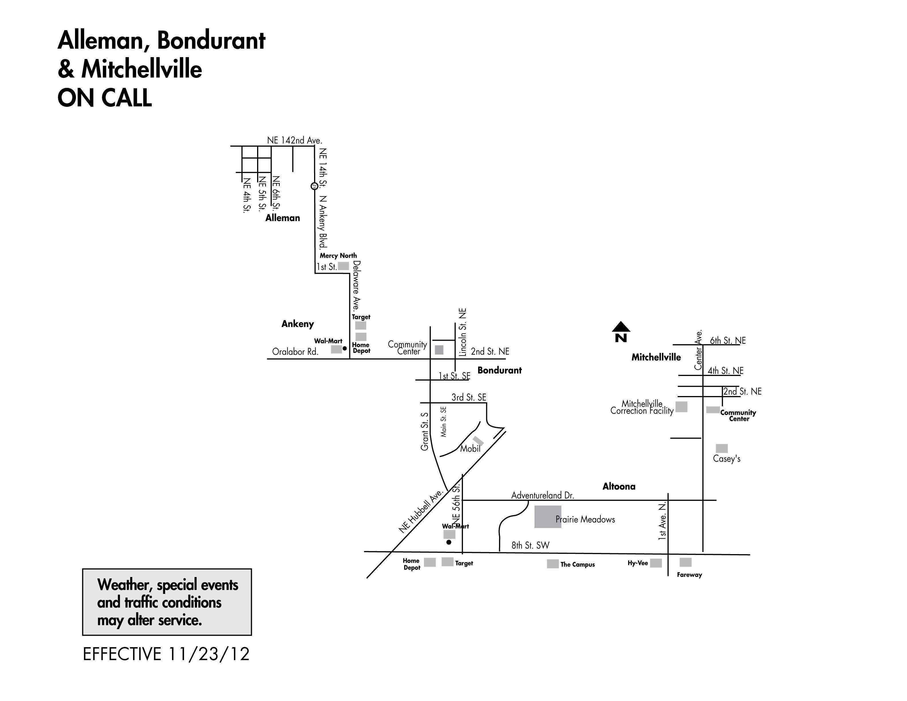 DART On Call Service - Alleman/Bondurant/Mitchellville Map