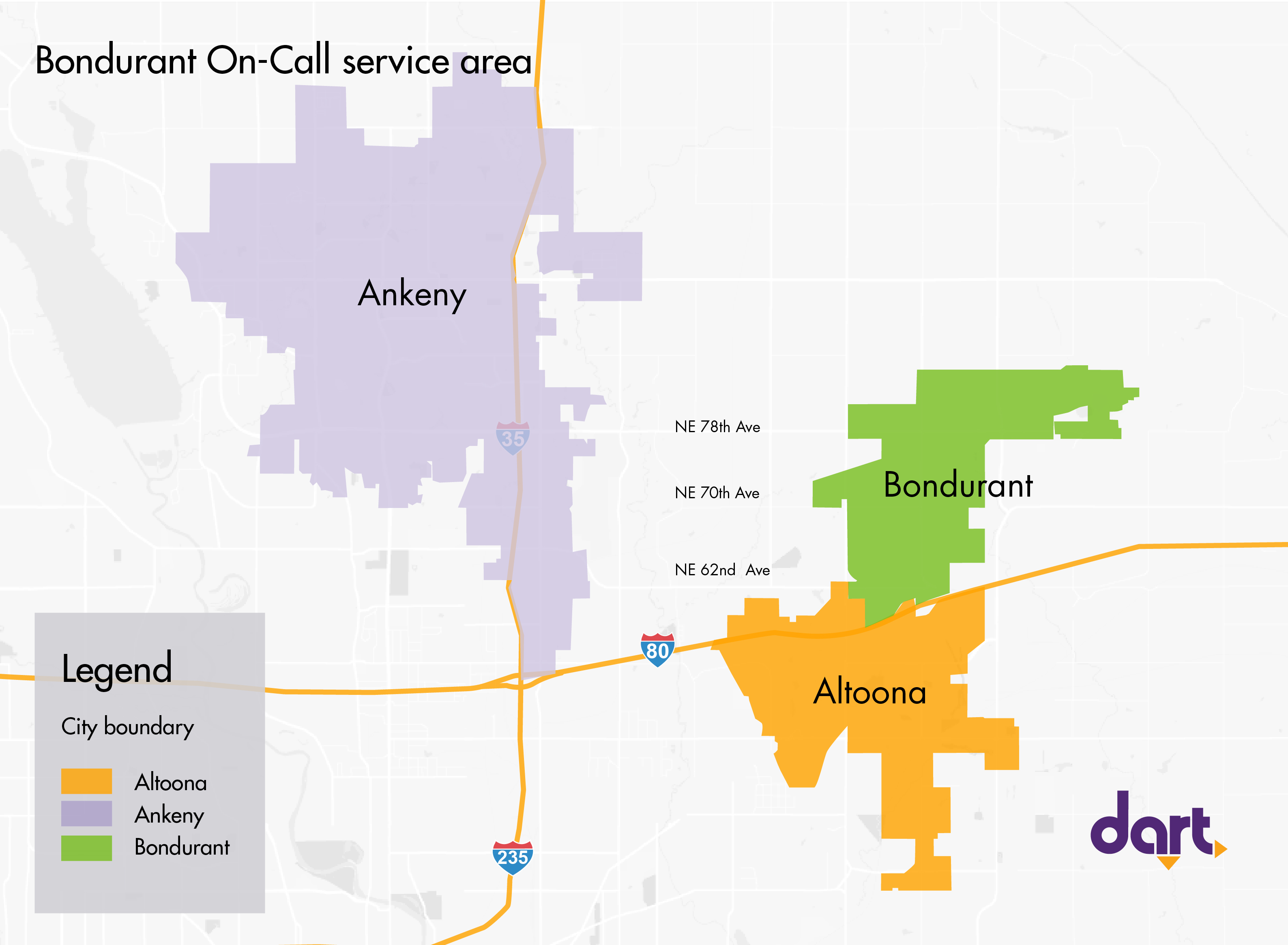 DART On Call Service - Bondurant Map