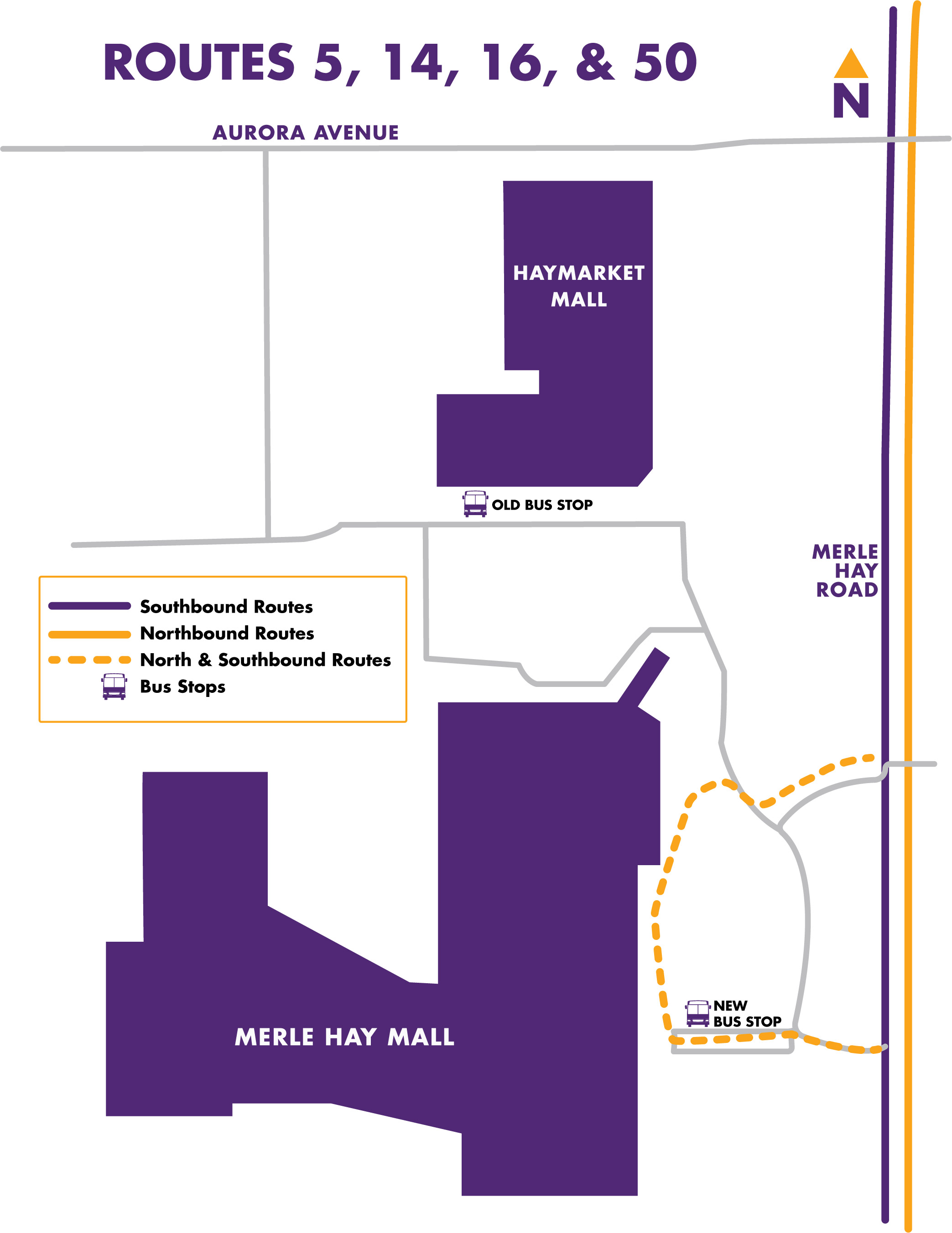 Map of detour moving bus stop from Haymarket Mall to Merle Hay Mall outside the main entrance.