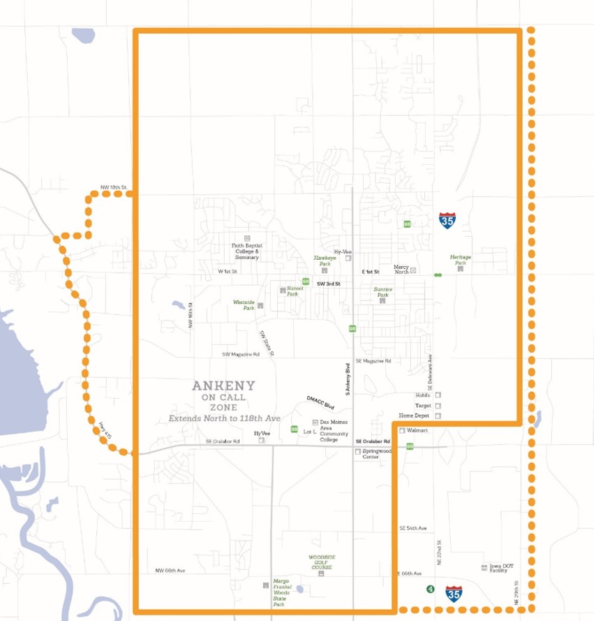 DART On Call Service - Ankeny Map